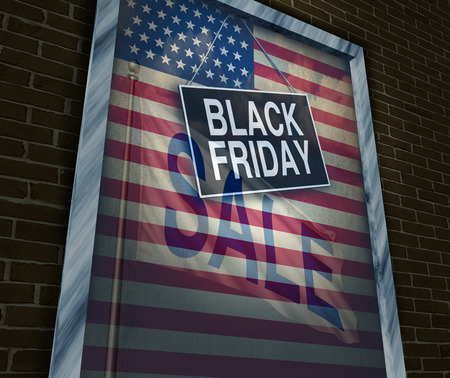 Black Friday holiday sale banner sign on a store window with an American flag reflection to celebrate the season to shop for low prices and discounts at retail stores offering special buying opportunities. photo
