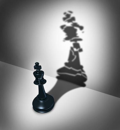 demotion: Broken leadership business crisis concept and weak leader metaphor as a three dimensional chess piece casting a shadow as a cracked icon as a symbol of  management failure.