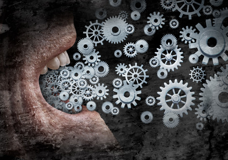 media distribution: Business communication and marketing success concept as an open  human mouth  spreading a message with social media with the metaphor of gears and cogs as a networking technology distribution symbol with a grunge texture.