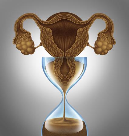 Vrouwelijke biologische klok begrip als een baarmoeder en eierstokken van de anatomie van een vrouw als vallende zand in een zandloper als een metafoor voor de angst stress en druk om zwanger te raken voordat het verouderingsproces van de menselijke menopauze.