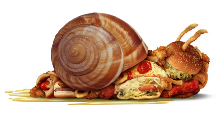 perro comiendo: Dieta lento y el concepto de pérdida de peso como un grupo de comida rápida como hamburguesas hotdog papas fritas y pollo frito como un símbolo de salud para un estilo de vida poco saludables sedentario y un icono para estar fuera de forma ..