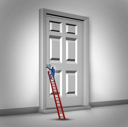 advancement: Opening the door business concept as a person climbing a success ladder to open a closed entrance to opportunity as a metaphor for career advancement challenge or bureaucracy.