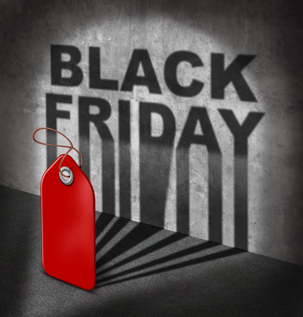 Black friday sale concept as a red price tag casting a shadow on a wall with text as a symbol to celebrate the start of holiday season shopping for low prices at retail stores offering discounted buying opportunities. photo