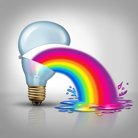 spew: Bad creative and terrible Ideas as awful thinking concept as an open light bulb vomiting or throwing up a rainbow as a metaphor and symbol for horribble  imagination or sick marketing. Stock Photo