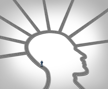 road and path through: Career Direction and job opportunity through training and professional skill development as a businessman standing on a road or path shaped as a human head or face as a concept for employment success.