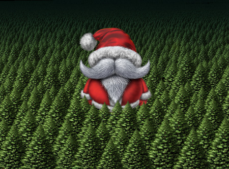 santaclause: Christmas card or postcard with santa clause or santaclause character in a forest of pine trees as a symbol of the winter holiday celebration and a happy new years greeting. Stock Photo