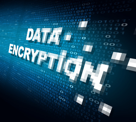 Data encryption concept as the word for internet security being pixelated and encrypted to become protected private information stored on the cloud or secure server as a symbol for password software technology.