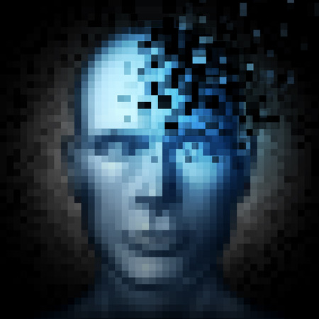 anonymity: Identity theft internet security concept as a human face that is pixelated with pixels being taken away as a metaphor and technology symbol for protection of personal information on social media.