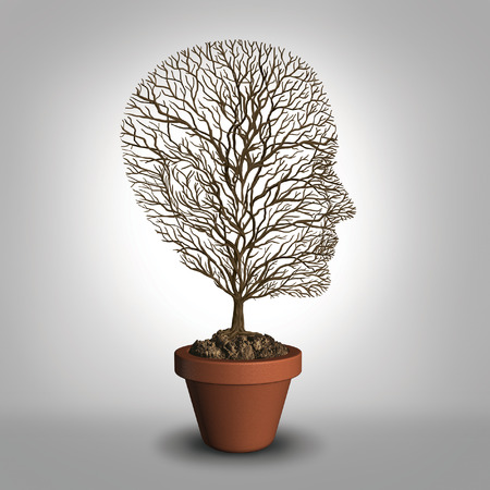 overwork: Work burnout and job stress concept due to physical and emotional exhaustion from overwork or career anxiety as an empty tree shaped as a human head with no leaves as a metaphor for distress and dealing with grief. Stock Photo