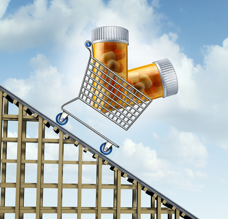 healthcare costs: Decreasing healthcare costs and lower medicine prices health care concept as a shopping cart with prescription drug bottles going downward on a track as a metaphor for affordable medical insurance and lower pharmaceutical expenses.