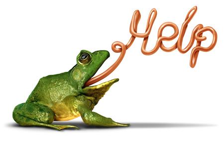 Environment help symbol as a green frog sending a message and communicating with its tongue shaped as a word for the need for assistance to protect natural habitat from pollution and ecological damage.