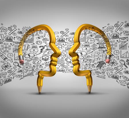koncept: Idéer partnerskaps affärsidé som två pennor formade som mänskliga huvuden med finansiella ikoner flyter mellan parterna som en framgång metafor för team innovativt samarbete.