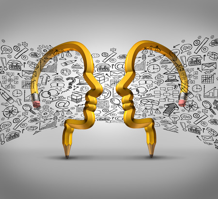 conceito: Idéias de parceria dos negócios, dois lápis em forma de cabeças humanas com ícones financeiros que fluem entre os parceiros como uma metáfora do sucesso para a equipe colaboração inovadora. Banco de Imagens