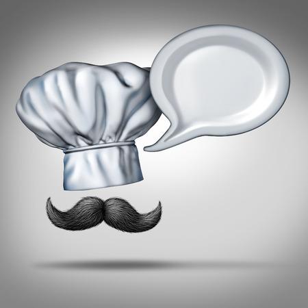 Restaurant talk-concept als een chef-kok hoed en snor praten met een bord in de vorm van een woord zeepbel als een symbool voor eten en voedsel criticus en recept informatie of recensies en klasseringen voor restaurants.