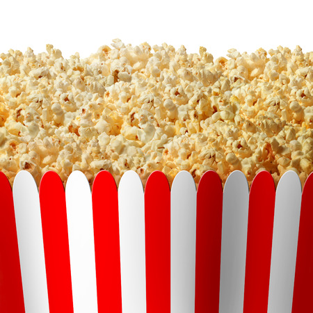 Popcorn box in striped red and white classic container isolated on a white background as an entertainment symbol for preparing to watch an important event on TV or at the movies. Stock Photo