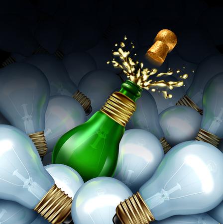 sektglas: Frohes neues Jahr Idee Konzept als eine Gruppe von Glühbirnen und einem grünen Glas Champagner oder Sekt Flasche als Glühbirne mit Spritzen und fliegenden Korken als Feier Symbol der ursprünglichen kreativen Partyplanung für Neujahr förmige
