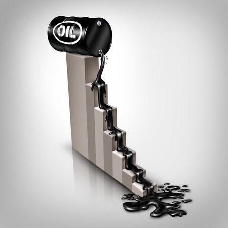 oil barrel: El precio del petr�leo cae concepto como un barril de petr�leo crudo se derrama hacia abajo en una carta financiera como un s�mbolo de la disminuci�n de los precios de la energ�a f�sil debido al exceso de oferta y la sobreproducci�n,