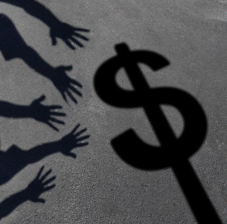 돈 횡령 및 소비자와 투자자 수요의 상징 또는 세금을 지불 아이콘으로 달러 기호에 도달 손의 그룹의 포장에 캐스팅 그림자 인간 탐욕 개념. 스톡 콘텐츠