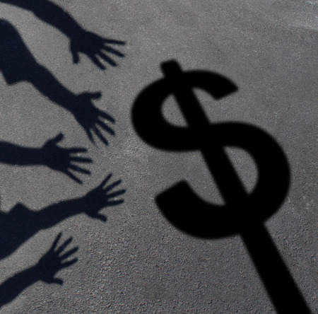 banking: Money grab and human greed concept as cast shadows on pavement of a group of hands reaching for a dollar sign as a symbol of consumer and investor demand or an icon for paying taxes.