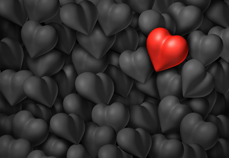 soul searching: Valentines day background with a group of grey hearts and one red shiny heart as a valentine symbol for romance and passion.