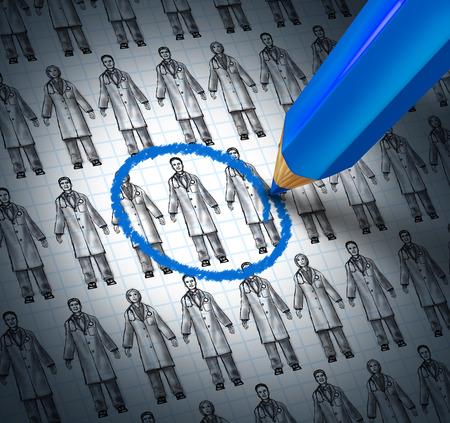 Het kiezen van een dokter zorgconcept als een blauw potlood het kiezen van een medische pictogram schets van generieke artsen of apotheker als een metafoor voor het vinden van het juiste ziekenhuis of behandelaar.
