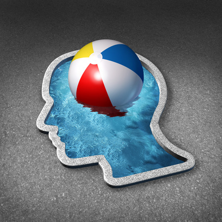 sabbatical: Leisure thinking concept and mental relaxation symbol as a swimming pool shaped as a human face with a beach ball representing the brain as a metaphor for planning a vacation or taking a break to manage stress with fun and relaxing activities.