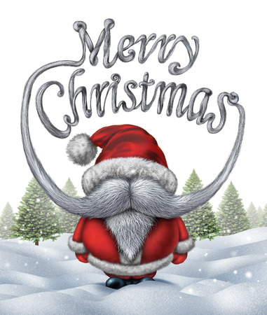Merry christmas santa clause inscription as a funny santa with a white beard and mustache shaped as festive winter holiday typography text on a snow background with pine trees. photo