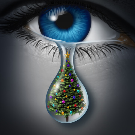Holiday depression and winter season anxiety and emotional crisis concept as a human eyeball crying a tear with a christmas tree inside as a metaphor for seasonal sadness.