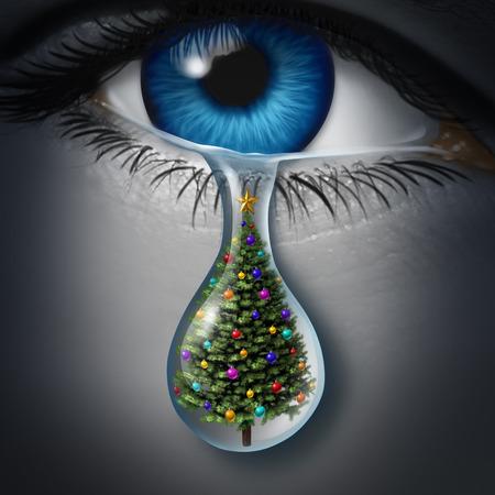 arbol de problemas: La depresión y la ansiedad de vacaciones temporada de invierno y el concepto de crisis emocional como un globo ocular humano llorar una lágrima con un árbol de navidad en el interior como una metáfora de la tristeza de temporada. Foto de archivo