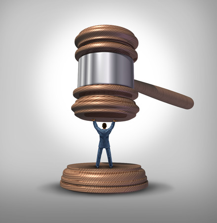 criminal case: Legal protection and law advice concept as an attorney blocking a gavel or judge mallet from completing a verdict or getting a pardon as a symbol for lawyer services to protect a defendant or victim or legislator fighting for citizen rights.
