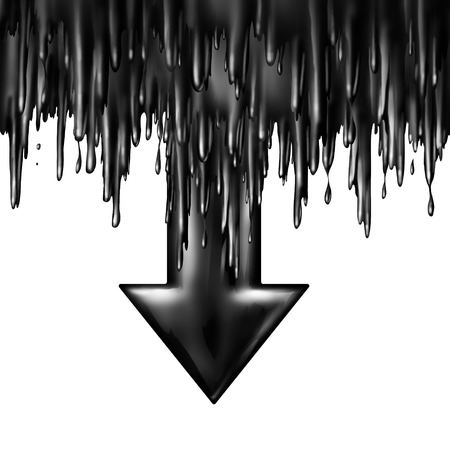 Oil dropping fuel and gas price falling concept as liquid black crude petroleum spilling down sgaped as a downward arrow in a symbol for declining prices in fossil energy due to market oversupply and overproduction. Stock Photo