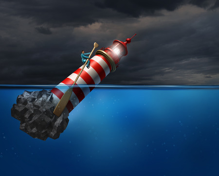 financial metaphor: Empower concept as a person using a lighthouse beacon as if it was a oar guiding the business symbol with an oar as a success metaphor for taking control of your career direction or life path.