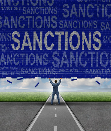 easing: Lifting Sanctions as a global economic symbol for solutions to trade disputes as a man lifting a brick wall with words as a metaphor for diplomatic success in negotiating government agreements for easing financial pressure.