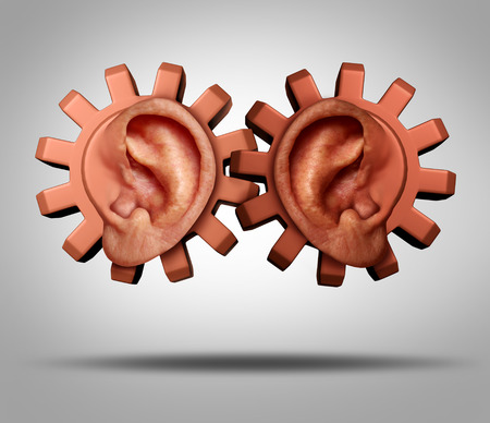Community working together concept as human ears shaped as gears or cogs connected together as a business or society metaphor for social issues related to race relations.