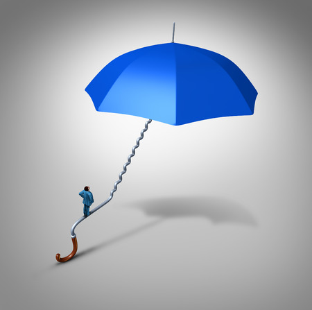 safeguard: Career and job security path protection as an employee climbing a blue umbrella handle  shaped as a stairway path as a business metaphor and financial symbol for job safeguard or coverage support.