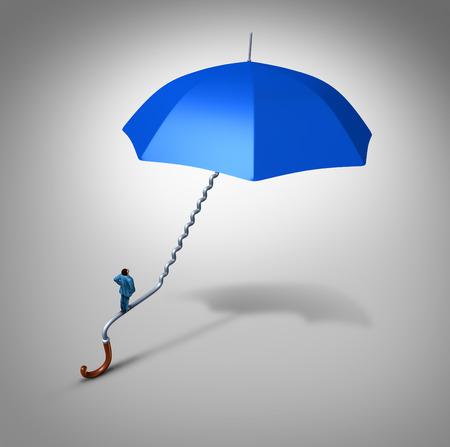 sauvegarde: Carri�re et protection de l'emploi de chemin de la s�curit� comme un employ� escalade une poign�e de parapluie bleu en forme comme un chemin d'escalier comme une m�taphore d'affaires et le symbole financi�re pour sauvegarde de l'emploi ou de soutien de la couverture.