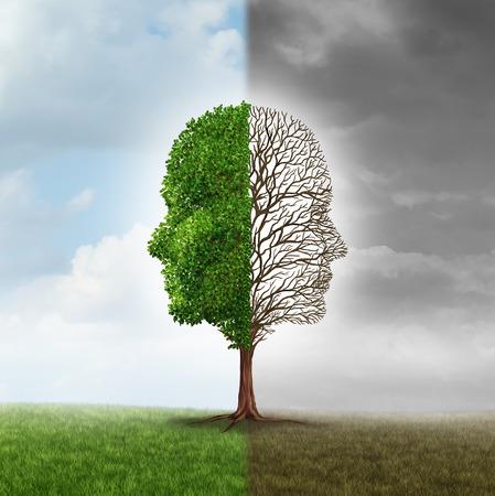 psicologia: La emoción humana y el trastorno de estado de ánimo como un árbol en forma de dos rostros humanos con una media ramas vacías y el lado opuesto lleno de hojas en el verano como una metáfora médica para problemas psicológicos relacionados con el contraste de sentimientos.