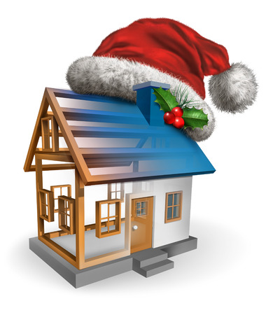construction project: Winter holiday construction symbol as a christmas santa claus hat with holly on a house that is in the building process as a festive celebration concept for the housing and real estate industry on a white background. Stock Photo