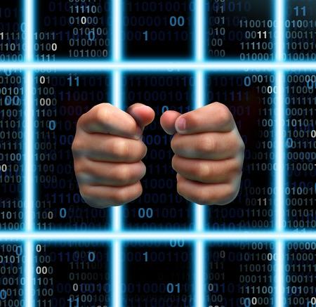 prisionero: Prisión Tecnología y la adicción a internet concepto de víctima como manos humanas sosteniendo barras de la cárcel virtuales hechas con láser de vigas ordenador con código binario digital.