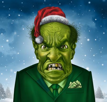 egoista: Greedy concepto jefe vacaciones y la codicia ego�sta navidad como un personaje encargado de negocio verde con un sombrero de Pap� Noel y traje con un signo de d�lar en la frente que representa el concepto de ego�smo y el comportamiento financiero taca�o.