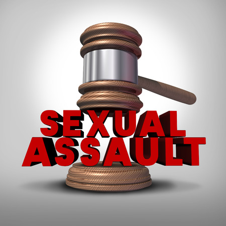 sexual nude: Sexual assault concept and rape crime symbol as a legal court judge mallet hitting a three dimensional text as an icon of sex violence harassment and criminal physical contact.