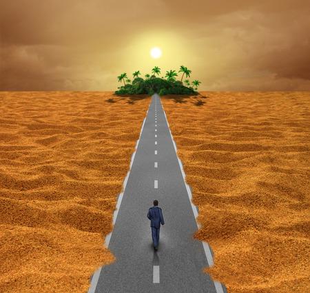희망의 오아시스 또는 미래를위한 영적 여정에 사막 도로에 산책하는 사람과 같은 성공을위한 기회 비즈니스 개념을보세요.