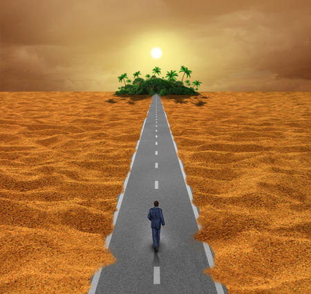 discover: Discover opportunity  business concept for success as a person walking on a desert road to an oasis of hope or a spiritual journey for the future.