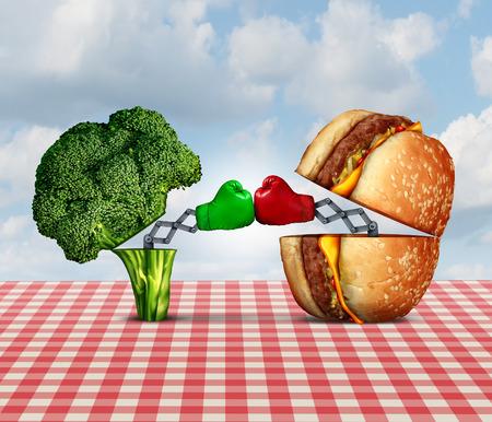 combate: Batalla Dieta y guerra de comida concepto de nutrici�n como el br�coli fresco y saludable lucha contra una hamburguesa con queso insalubres con guantes de boxeo pu�etazos entre s�. Foto de archivo