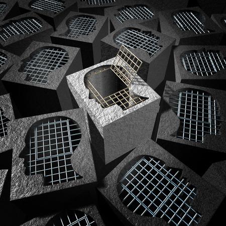 cellule de prison: La pensée indépendante et le concept de l'esprit ouvert comme une métaphore de la liberté pour un penseur innovateur comme une prison de ciment avec des barres de prison métalliques ouverte en forme de tête humaine.