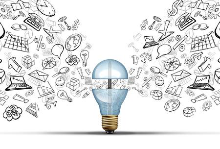 tecnologia: A inovação empresarial idéias conceito como uma lâmpada aberta com ícones financeiros e de escritório que está sendo lançado como um símbolo de sucesso de comunicação para soluções de estratégia de marketing.