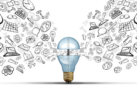 Business innovation ideas concept as an open light bulb with financial and office icons being released as a communication success symbol for marketing strategy solutions.