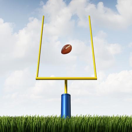 feld: American Football-Feld Ziel-Konzept als Mannschaftssport getreten Ball geht zwischen den Pfosten als Metapher für die Straftat Erfolg und Gewinnstrategie Konzept.