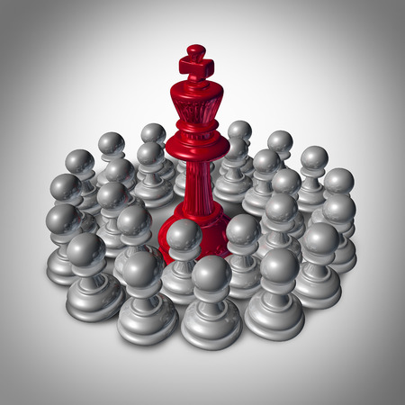 Checkmate business concept and team strategy symbol as an organized group of small chess pawns coming together to overpower and dominate the big leader king. Stock Photo