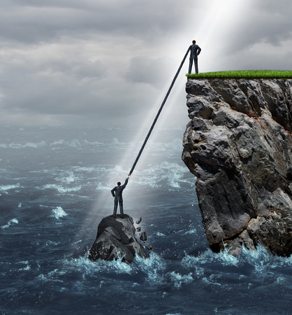 persons: Embrace opportunity business concept as a person in a crisis stranded in the ocean being supported by an extended helping hand by another man on top of a high cliff on solid ground.